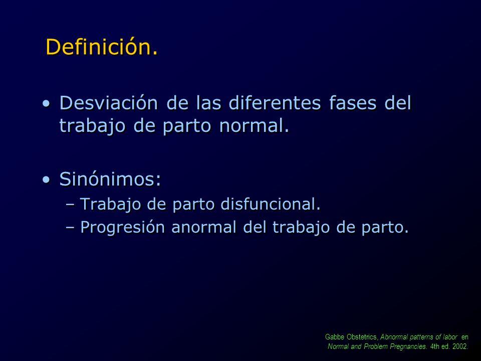 Definición. Desviación de las diferentes fases del trabajo de parto normal. Sinónimos: Trabajo de parto disfuncional.