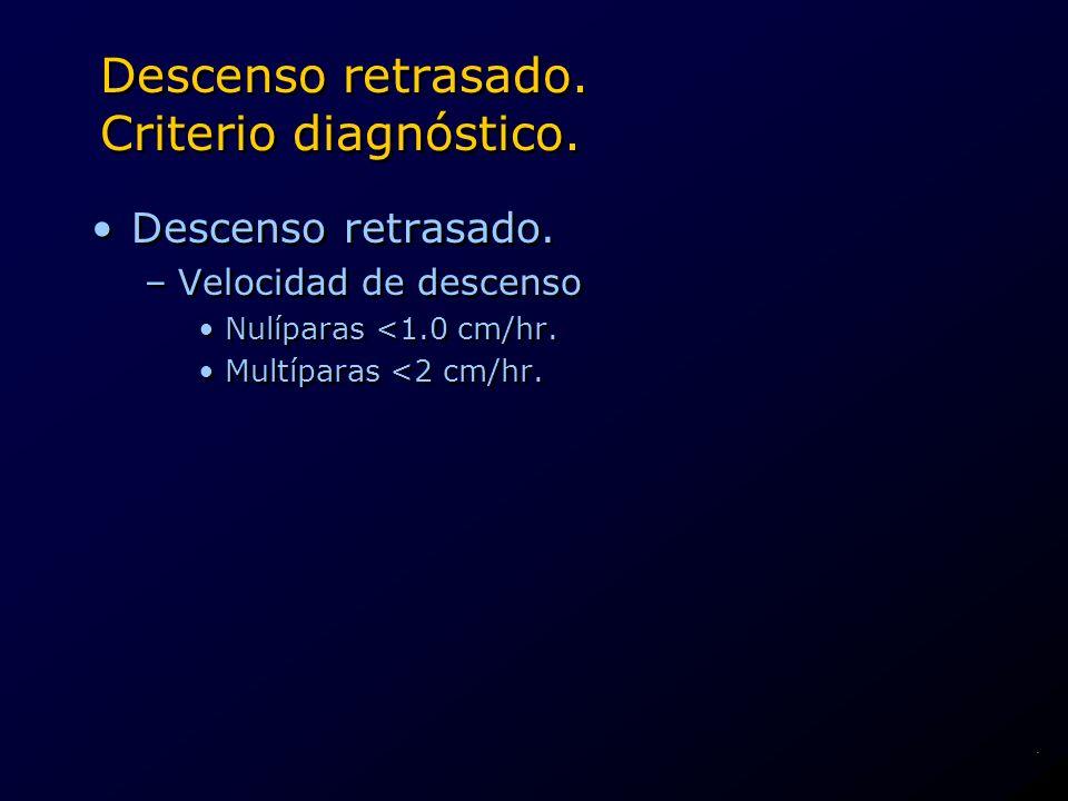 Descenso retrasado. Criterio diagnóstico.