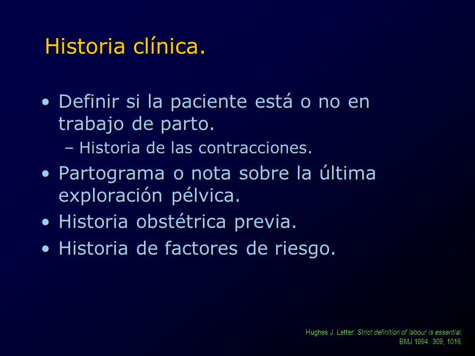 Historia clínica. Definir si la paciente está o no en trabajo de parto. Historia de las contracciones.