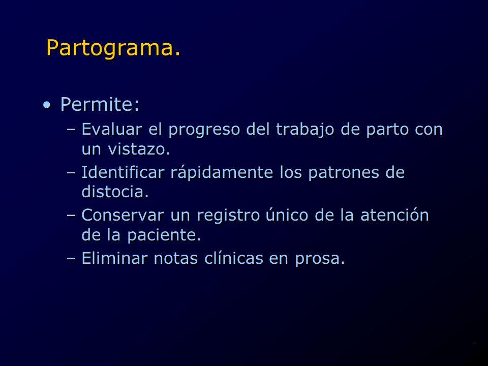 Partograma. Permite: Evaluar el progreso del trabajo de parto con un vistazo. Identificar rápidamente los patrones de distocia.