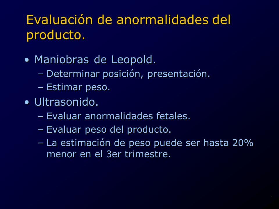 Evaluación de anormalidades del producto.