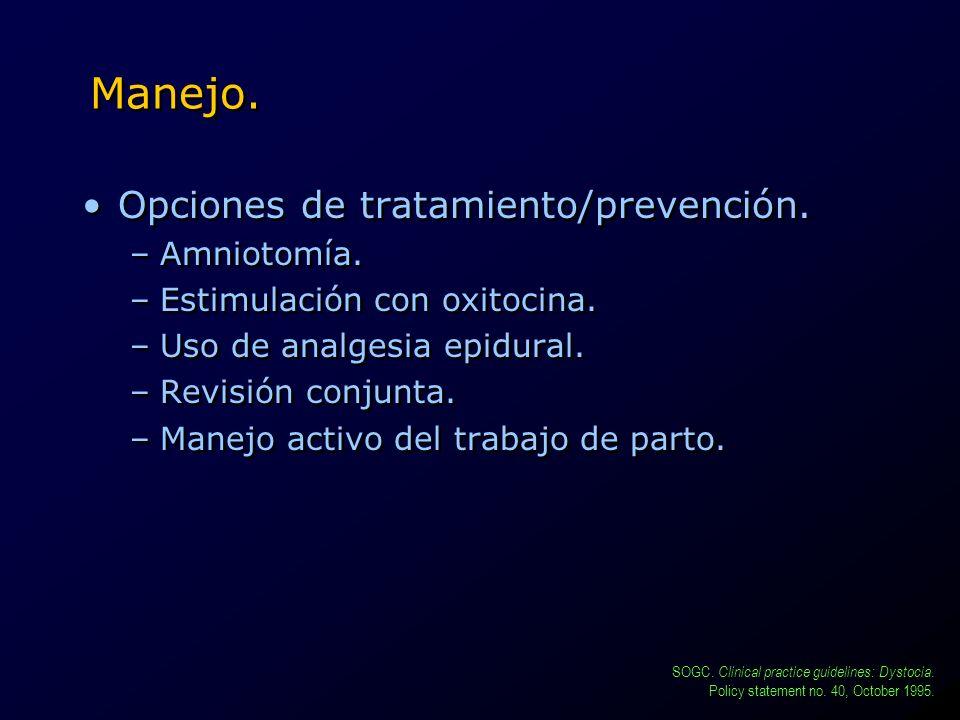 Manejo. Opciones de tratamiento/prevención. Amniotomía.