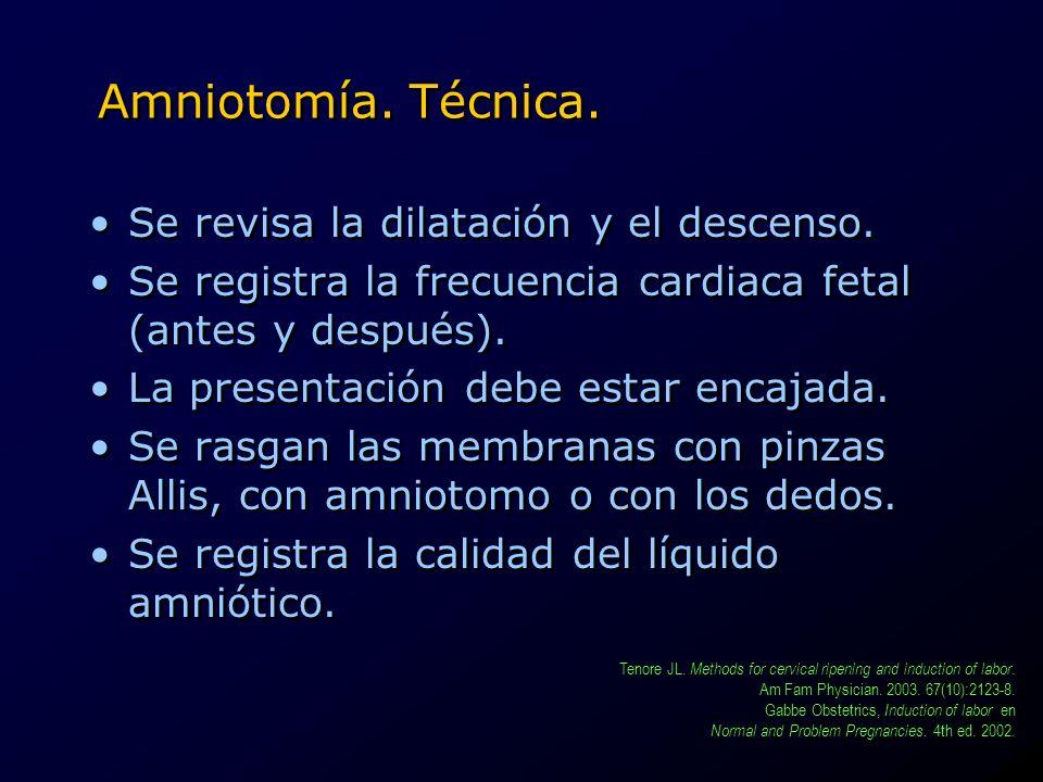 Amniotomía. Técnica. Se revisa la dilatación y el descenso.