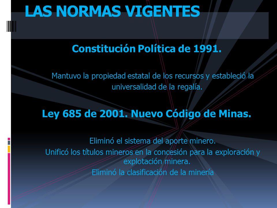 Constitución Política de 1991. Ley 685 de 2001. Nuevo Código de Minas.
