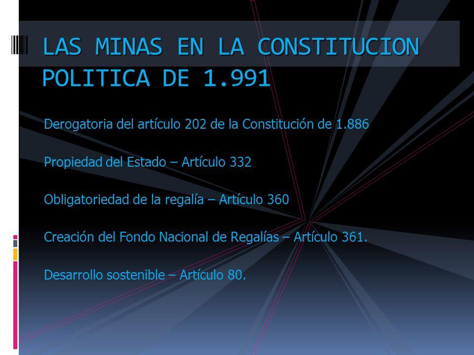 LAS MINAS EN LA CONSTITUCION POLITICA DE 1.991