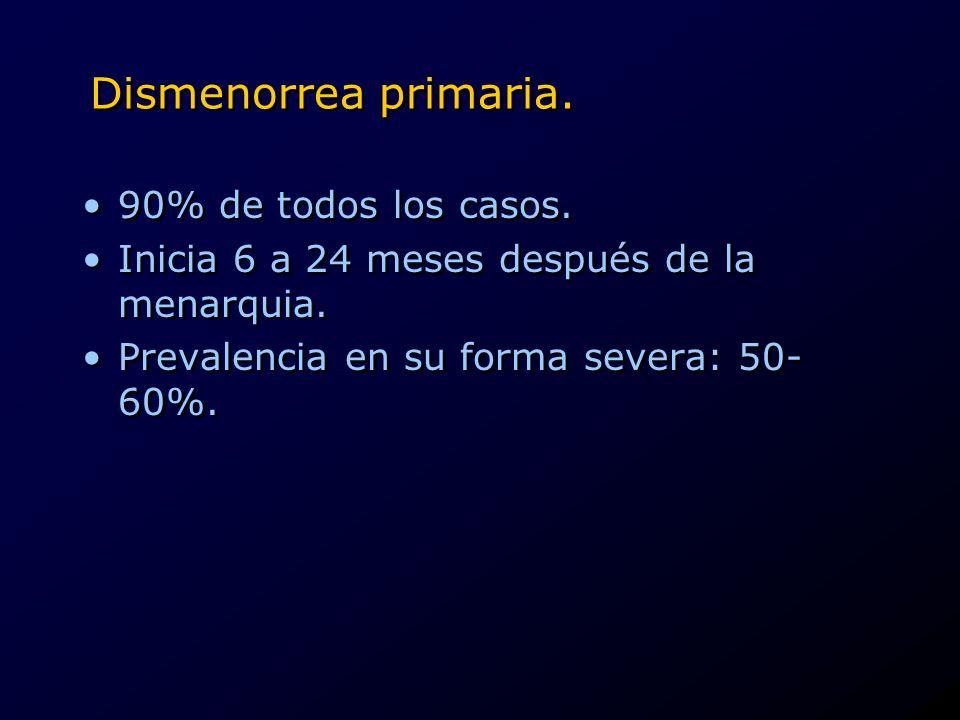 Dismenorrea primaria. 90% de todos los casos.