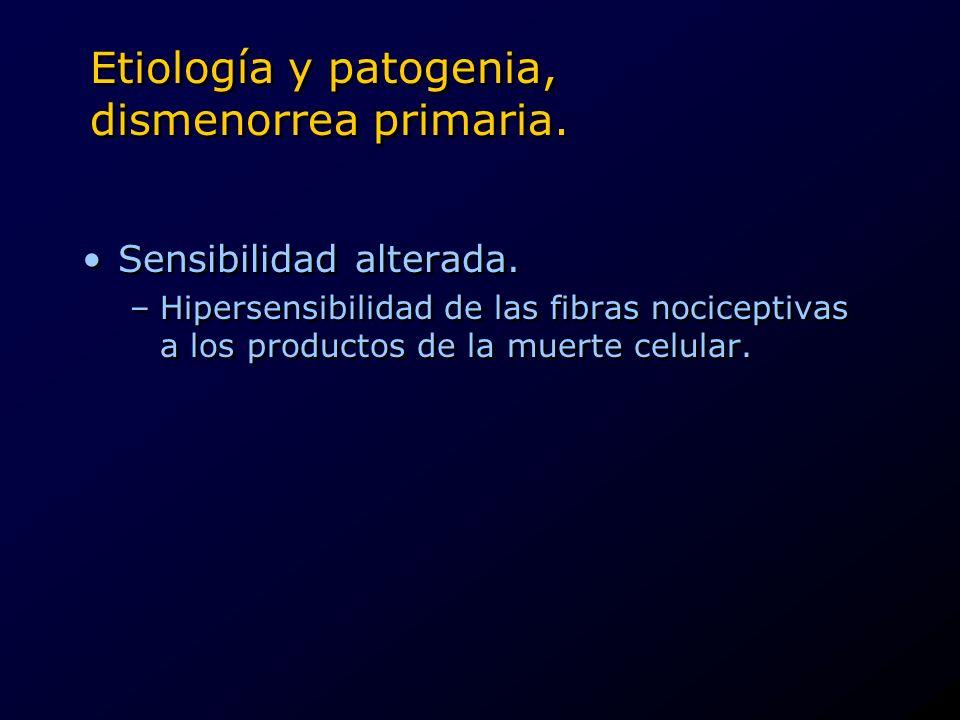 Etiología y patogenia, dismenorrea primaria.