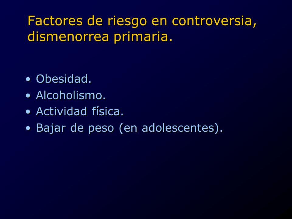 Factores de riesgo en controversia, dismenorrea primaria.