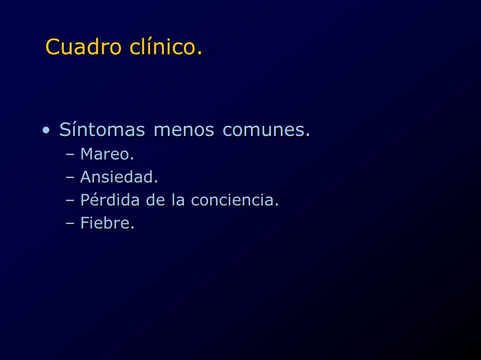 Cuadro clínico. Síntomas menos comunes. Mareo. Ansiedad.