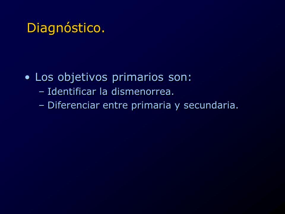 Diagnóstico. Los objetivos primarios son: Identificar la dismenorrea.