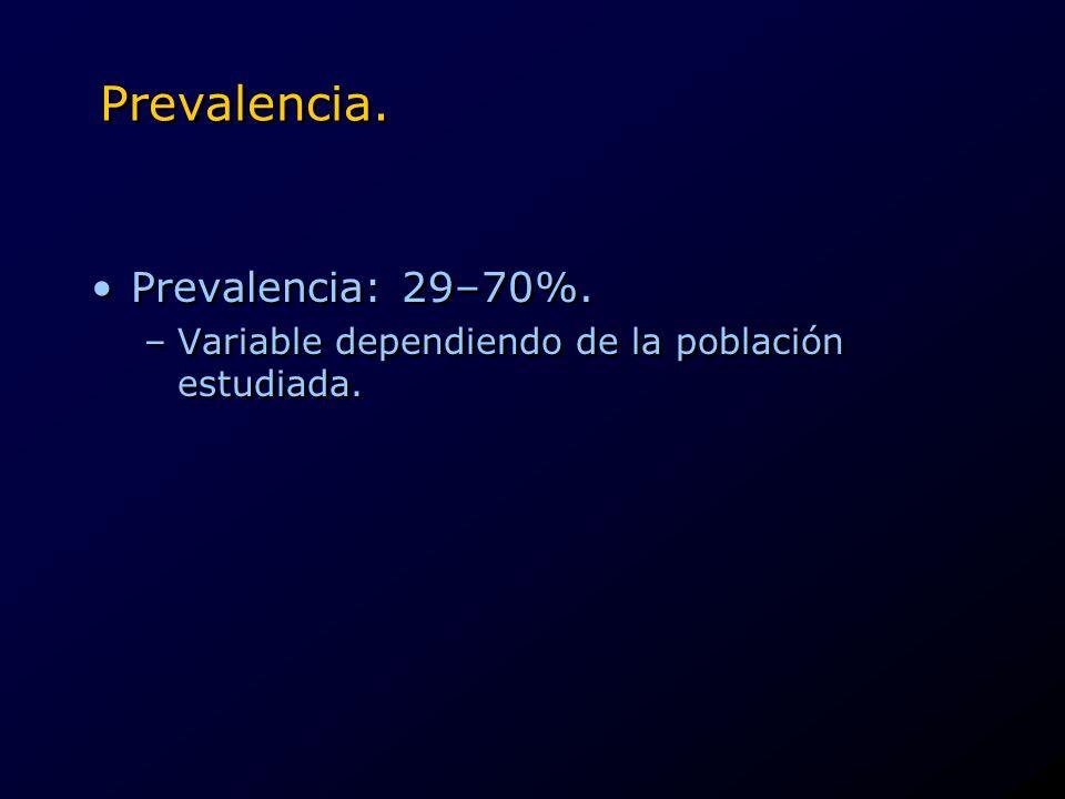 Prevalencia. Prevalencia: 29–70%.