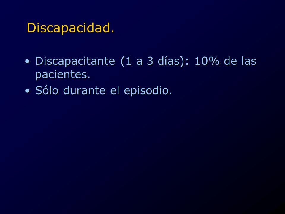 Discapacidad. Discapacitante (1 a 3 días): 10% de las pacientes.