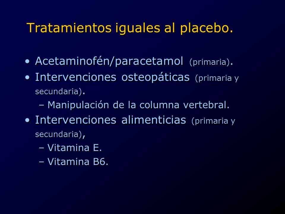 Tratamientos iguales al placebo.