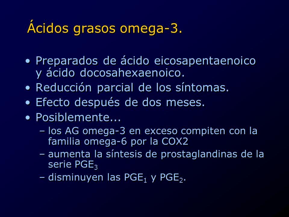 Ácidos grasos omega-3. Preparados de ácido eicosapentaenoico y ácido docosahexaenoico. Reducción parcial de los síntomas.