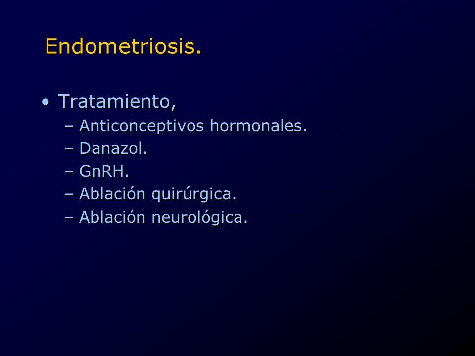 Endometriosis. Tratamiento, Anticonceptivos hormonales. Danazol. GnRH.