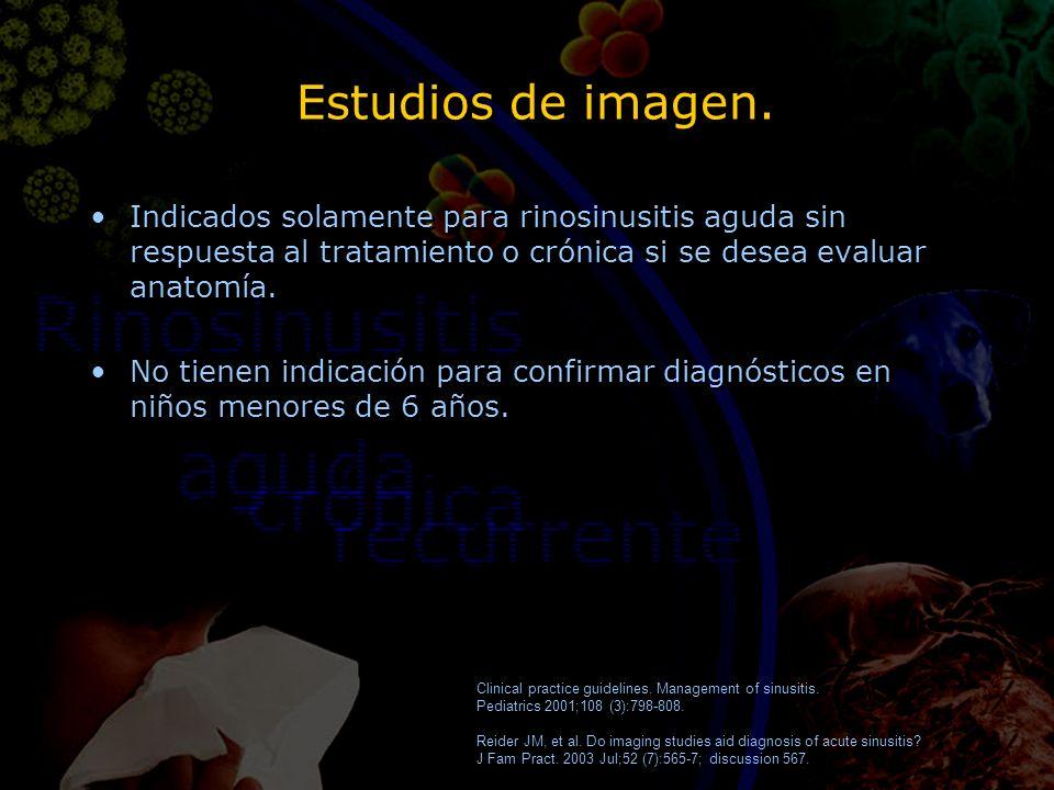 Estudios de imagen. Indicados solamente para rinosinusitis aguda sin respuesta al tratamiento o crónica si se desea evaluar anatomía.