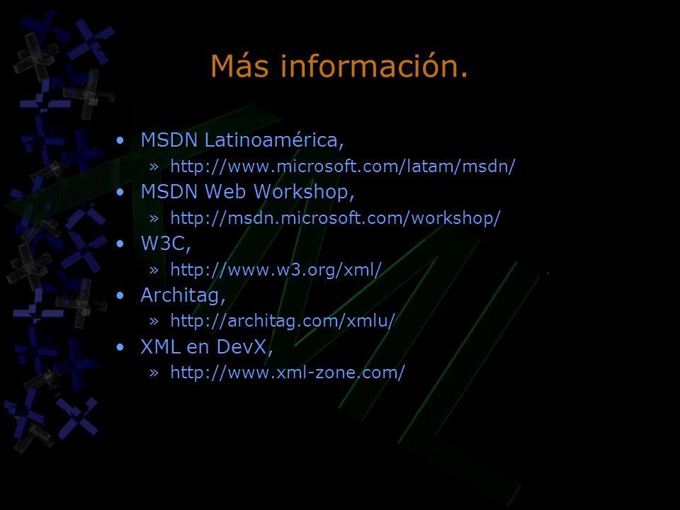 Más información. MSDN Latinoamérica, MSDN Web Workshop, W3C, Architag,