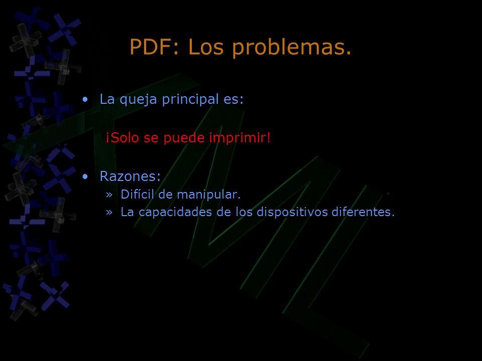 PDF: Los problemas. La queja principal es: ¡Solo se puede imprimir!
