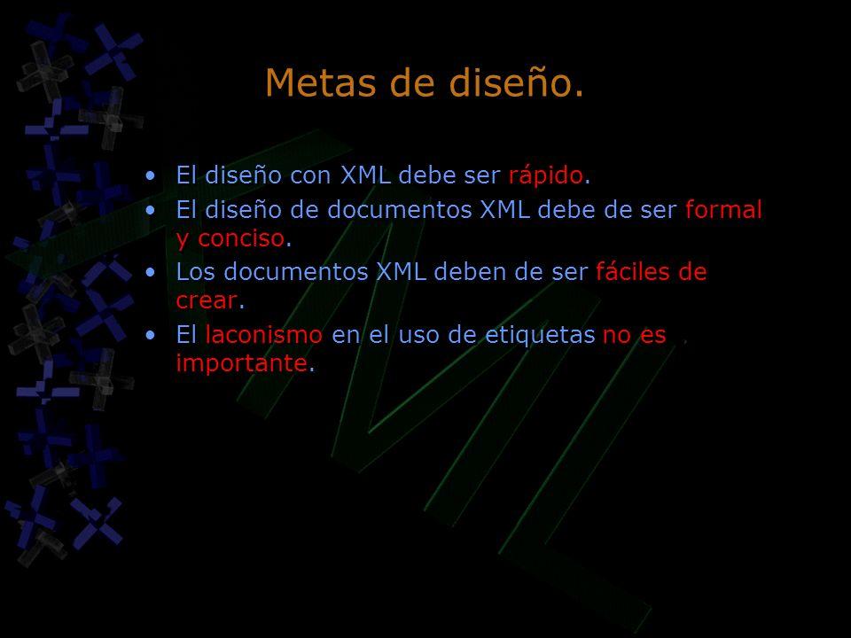 Metas de diseño. El diseño con XML debe ser rápido.