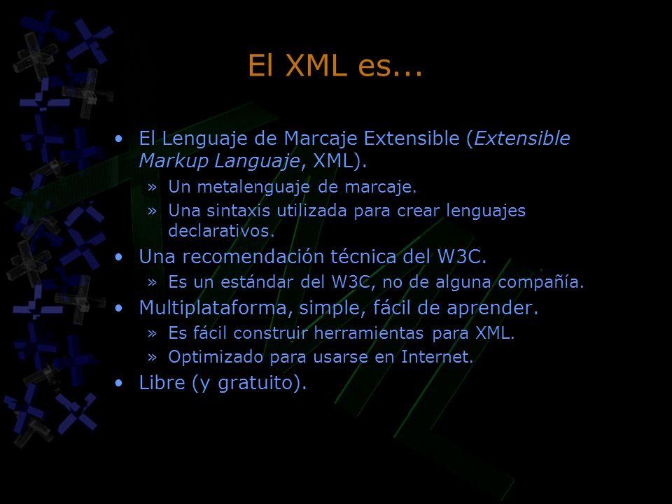 El XML es... El Lenguaje de Marcaje Extensible (Extensible Markup Languaje, XML). Un metalenguaje de marcaje.