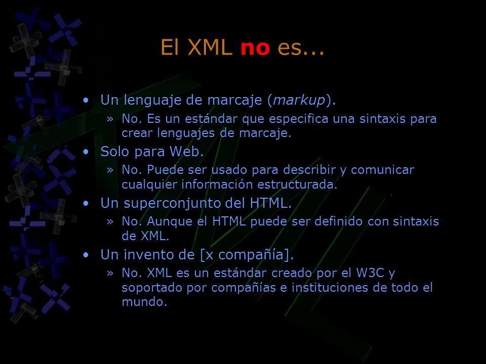 El XML no es... Un lenguaje de marcaje (markup). Solo para Web.