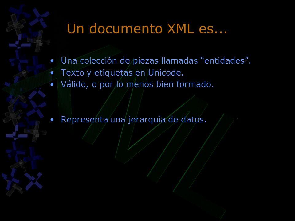 Un documento XML es... Una colección de piezas llamadas entidades .