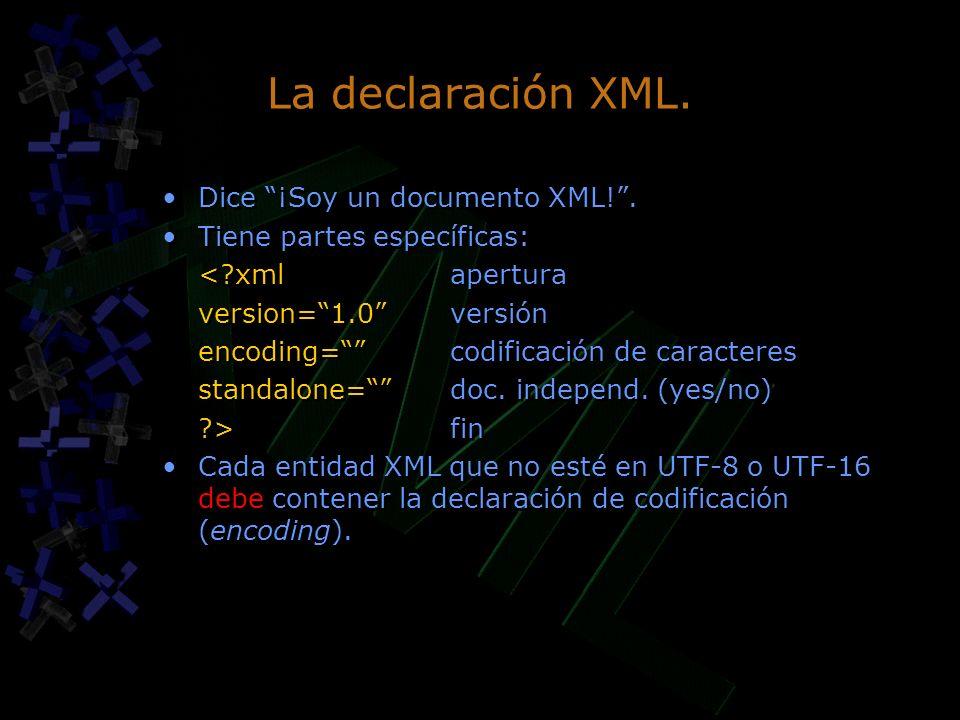 La declaración XML. Dice ¡Soy un documento XML! .