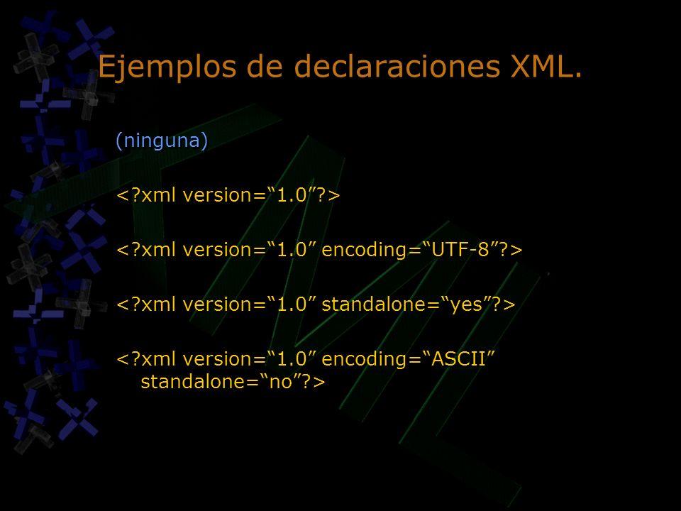 Ejemplos de declaraciones XML.