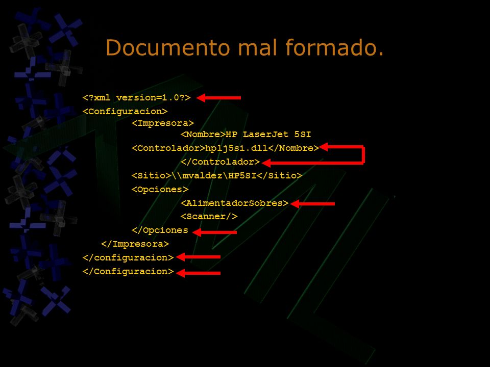 Documento mal formado. < xml version=1.0 >