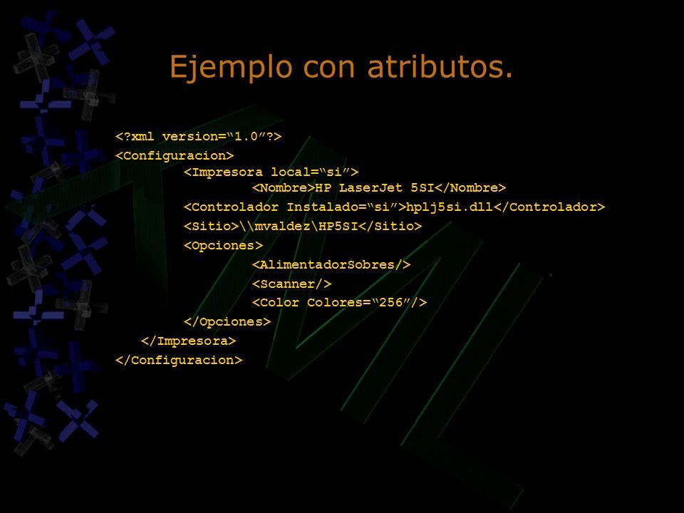 Ejemplo con atributos. < xml version= 1.0 >