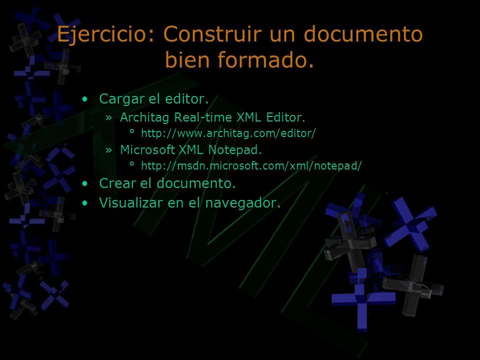 Ejercicio: Construir un documento bien formado.
