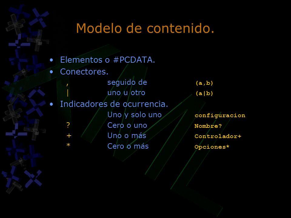 Modelo de contenido. Elementos o #PCDATA. Conectores.