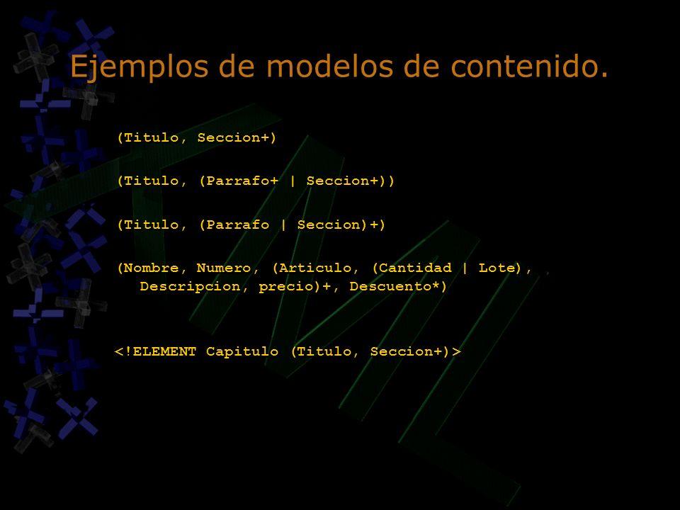 Ejemplos de modelos de contenido.