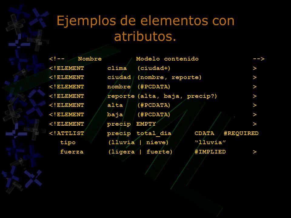 Ejemplos de elementos con atributos.