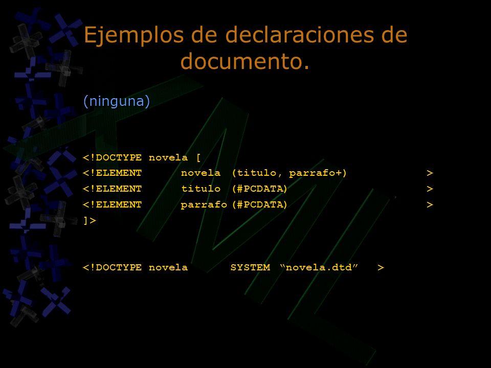 Ejemplos de declaraciones de documento.