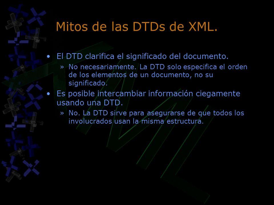 Mitos de las DTDs de XML. El DTD clarifica el significado del documento.