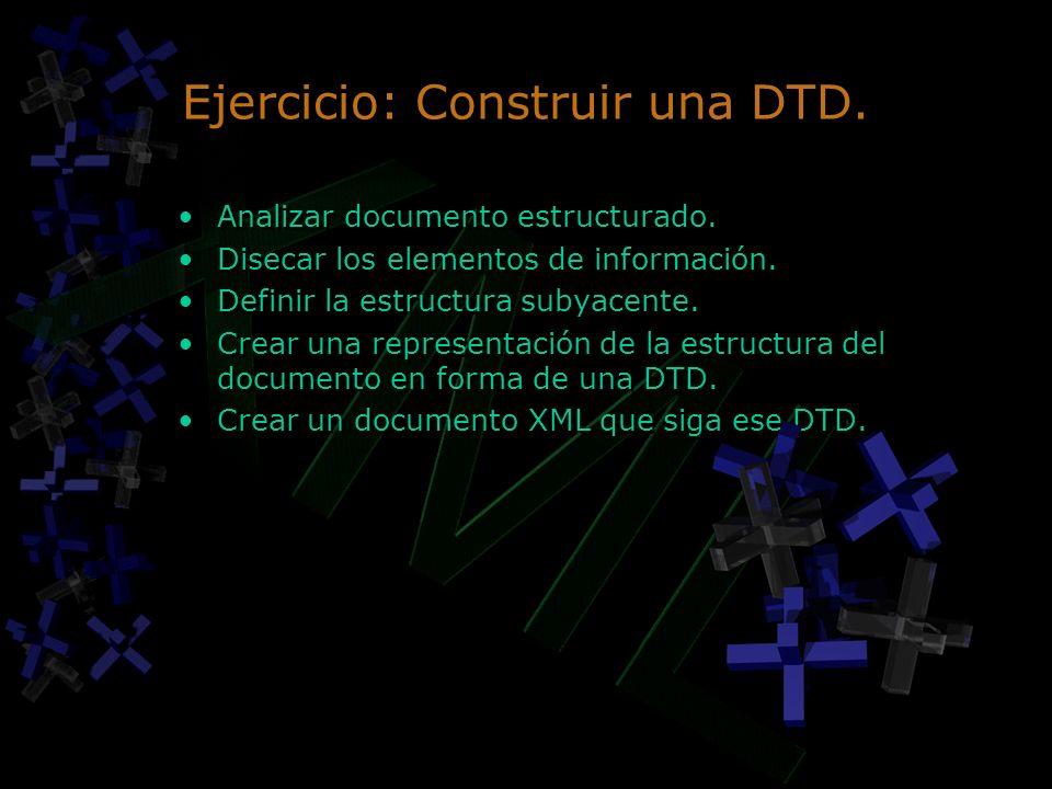 Ejercicio: Construir una DTD.