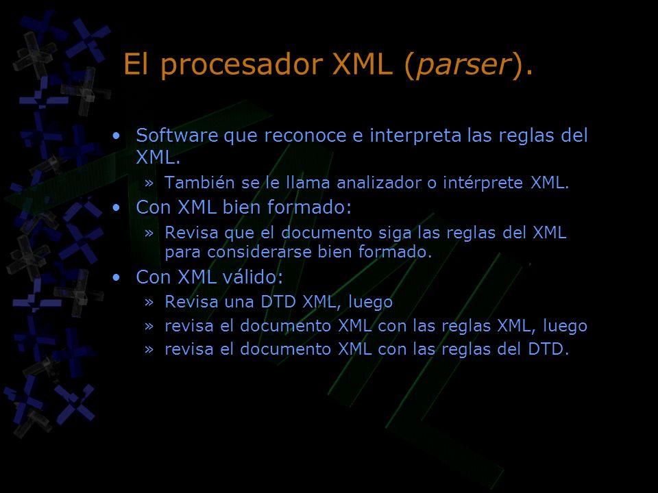 El procesador XML (parser).