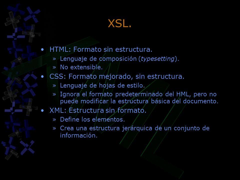 XSL. HTML: Formato sin estructura.