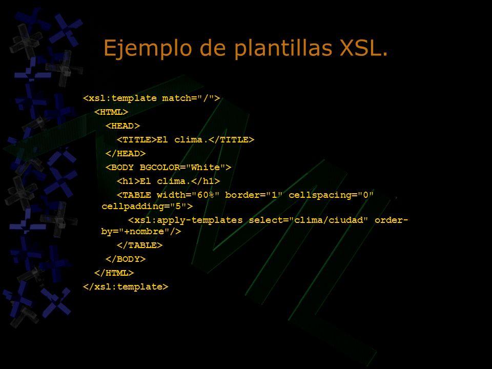 Ejemplo de plantillas XSL.