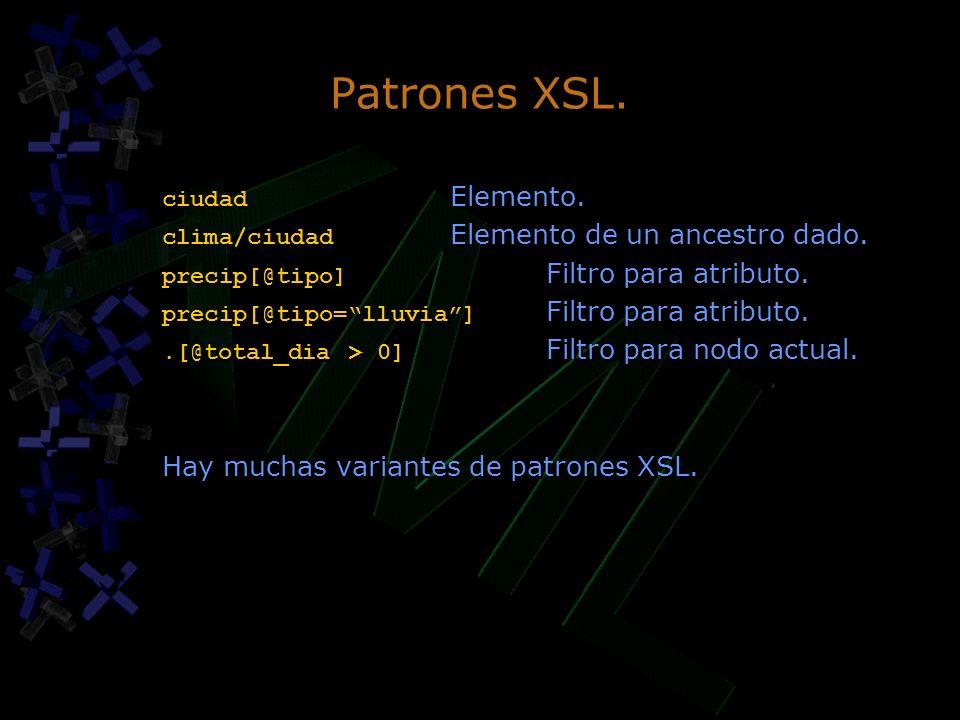 Patrones XSL. Hay muchas variantes de patrones XSL. ciudad Elemento.