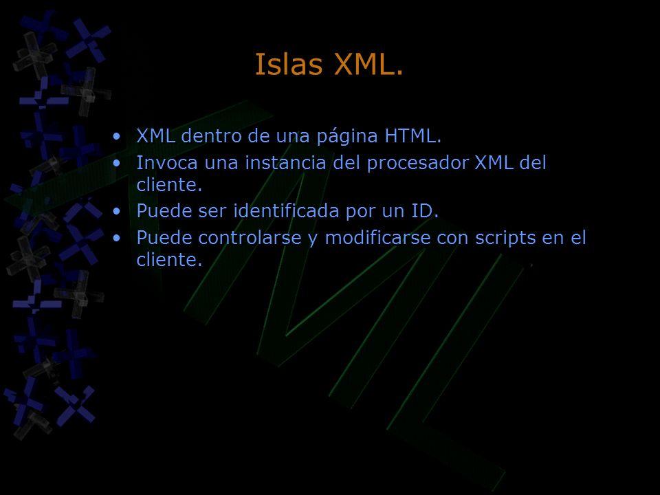 Islas XML. XML dentro de una página HTML.