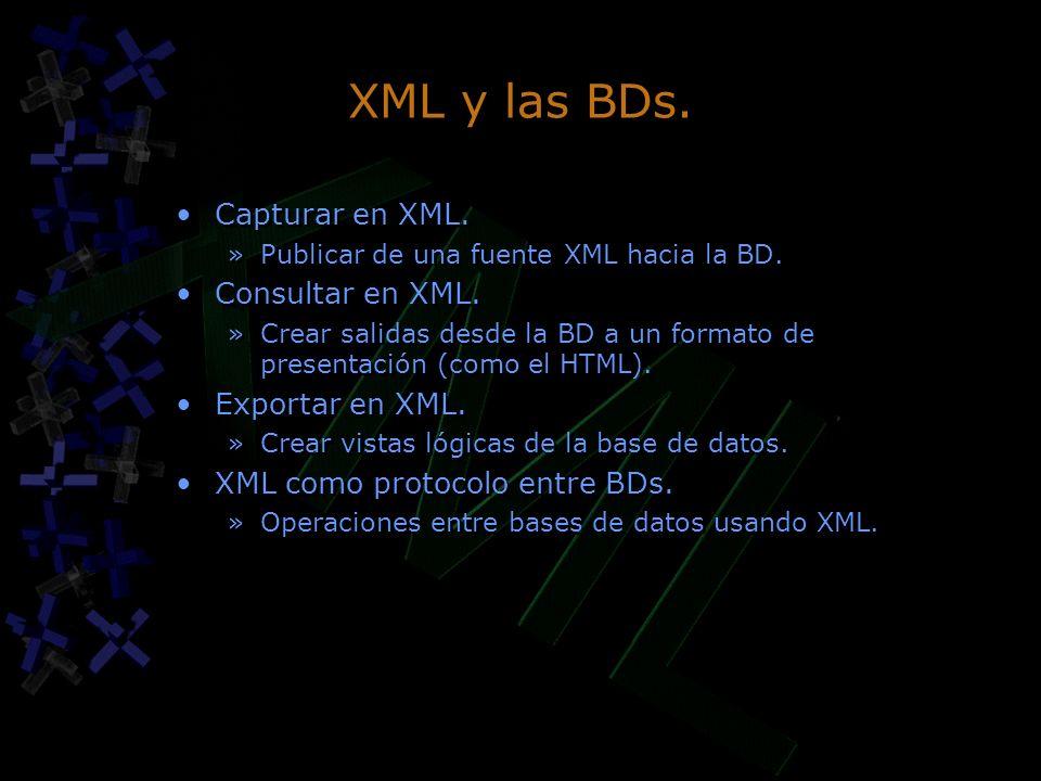XML y las BDs. Capturar en XML. Consultar en XML. Exportar en XML.