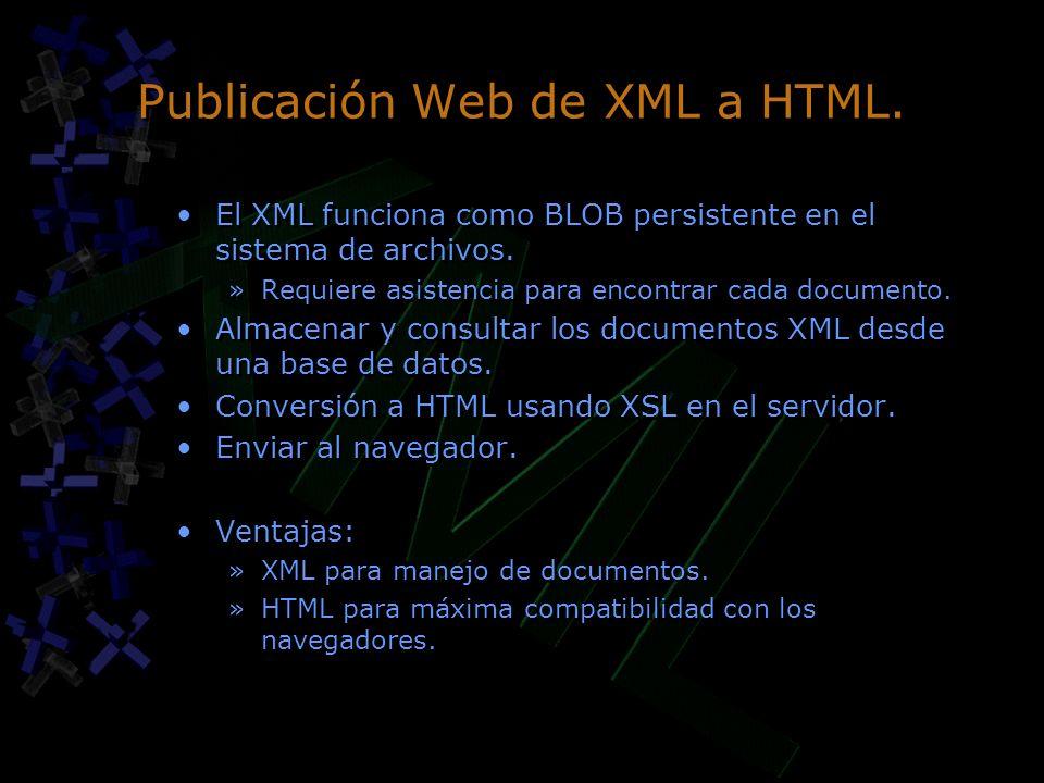 Publicación Web de XML a HTML.