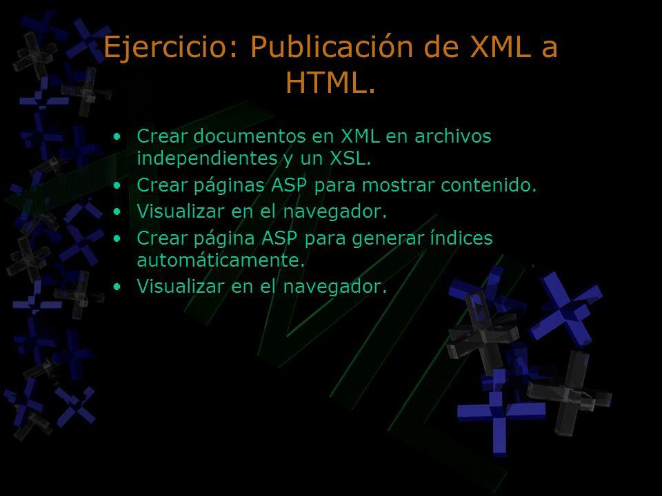 Ejercicio: Publicación de XML a HTML.