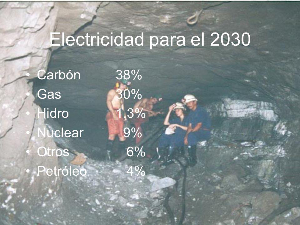 Electricidad para el 2030 Carbón 38% Gas 30% Hidro 1.3% Nuclear 9%