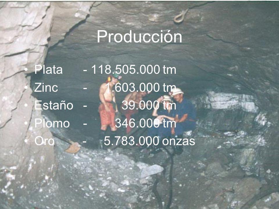 Producción Plata - 118.505.000 tm Zinc - 1.603.000 tm