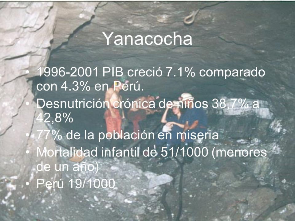 Yanacocha 1996-2001 PIB creció 7.1% comparado con 4.3% en Perú.
