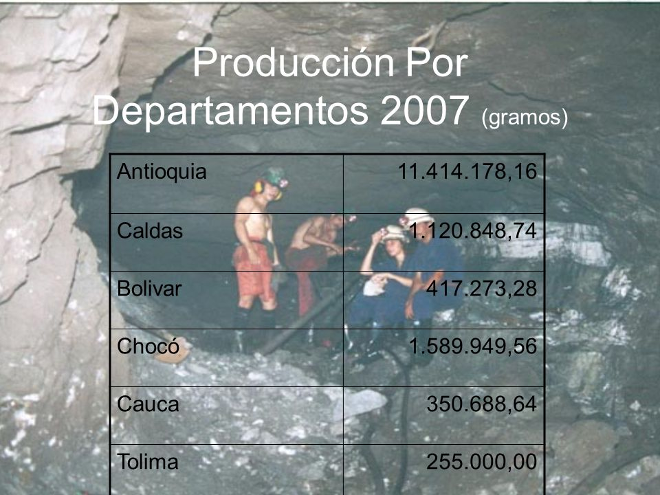 Producción Por Departamentos 2007 (gramos)