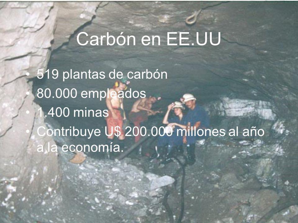 Carbón en EE.UU 519 plantas de carbón 80.000 empleados 1.400 minas